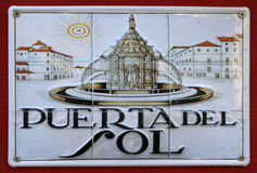 普埃尔塔del Sol,马德里,西班牙的标志 免版税库存图片