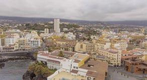 普埃尔托德拉克鲁斯,特内里费岛鸟瞰图  图库摄影