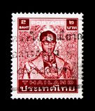 普密蓬・阿杜德(1980-1991), serie国王,大约1986年 免版税库存照片