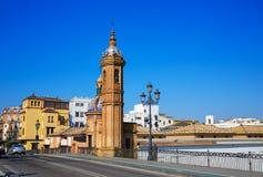 普恩特伊莎贝尔II桥梁在Triana塞维利亚西班牙 库存照片