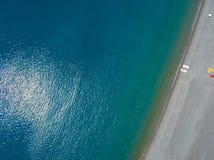 普拉伊阿阿马雷海滩,科森扎省,卡拉布里亚,意大利鸟瞰图  06/26/2017 库存照片