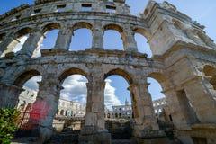 普拉的克罗地亚古老圆形剧场 免版税图库摄影