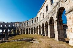 普拉的古老罗马圆形剧场 图库摄影