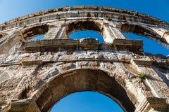 普拉的古老罗马圆形剧场 库存照片