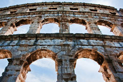 普拉的,克罗地亚圆形露天剧场 免版税库存照片