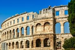 普拉的,克罗地亚著名圆形剧场 免版税库存图片