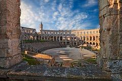 普拉, Istria,克罗地亚:古老罗马竞技场 库存图片