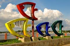 普林塞萨港Baywalk纪念碑 库存图片