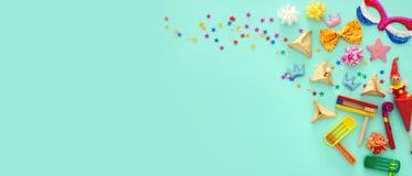 普珥节庆祝概念犹太狂欢节假日 顶视图 免版税图库摄影