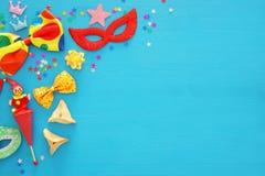 普珥节庆祝概念& x28; 犹太狂欢节holiday& x29; 顶视图 免版税图库摄影