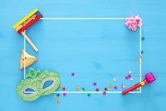 普珥节庆祝概念& x28; 犹太狂欢节holiday& x29; 顶视图 免版税库存照片