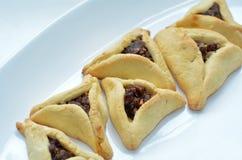 普珥节犹太假日食物- Hamentashen, Ozen Haman 图库摄影