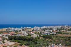 普罗塔拉斯,塞浦路斯一幅全景  图库摄影