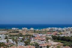 普罗塔拉斯,塞浦路斯一幅全景  库存图片
