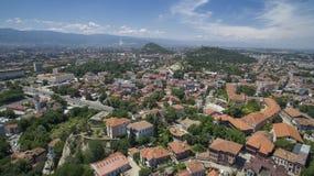 普罗夫迪夫,保加利亚鸟瞰图  库存照片