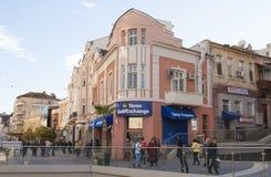 普罗夫迪夫,保加利亚- 2015年11月09日:在histori的老buikldings 库存图片
