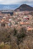 普罗夫迪夫,保加利亚- 2016年12月30日:市全景从Sahat tepe小山的普罗夫迪夫 库存照片