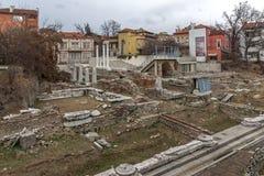 普罗夫迪夫,保加利亚- 2016年12月30日:罗马Odeon废墟全景在市普罗夫迪夫 免版税图库摄影