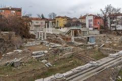 普罗夫迪夫,保加利亚- 2016年12月30日:罗马Odeon废墟全景在市普罗夫迪夫 免版税库存照片