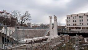 普罗夫迪夫,保加利亚- 2016年12月30日:罗马Odeon废墟在市普罗夫迪夫 免版税库存图片