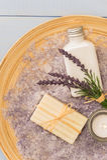 普罗旺斯aromatherapy淡紫色化妆用品产品 库存照片