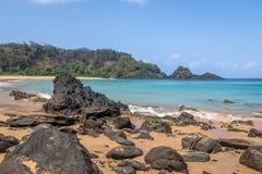 普腊亚做Sancho海滩-费尔南多・迪诺罗尼亚群岛, Pernambuco,巴西 图库摄影