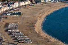 普腊亚da Nazare海滩在Nazare,葡萄牙 免版税库存照片