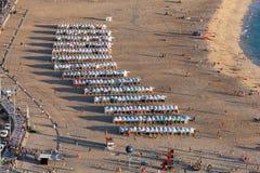 普腊亚da Nazare海滩在Nazare,葡萄牙 库存照片