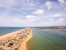 普腊亚De法鲁,阿尔加威,葡萄牙 在海洋和海滩海岸的鸟瞰图  在水,寄生虫视图的小船 免版税库存照片
