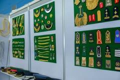 普通海军/军队一致的徽章/辅助部件在显示 免版税图库摄影