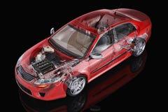 普通轿车汽车详细的切掉的表示法。 库存例证