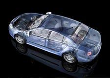 普通轿车汽车详细的切掉的表示法。 图库摄影