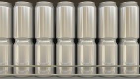 普通铝罐在杂货店 苏打或啤酒在超级市场架子 现代回收的包装 3d翻译 免版税库存照片