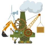 普遍动画片机器拖拉机起重机齿轮 库存图片
