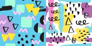 普遍孟菲斯无缝的样式不尽的摘要填装样式和表面纹理五颜六色的几何装饰品 库存照片