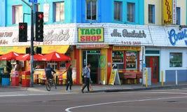 普遍的炸玉米饼商店在圣地亚哥 库存图片