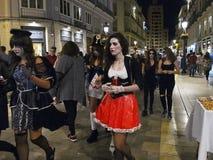 普遍的现代万圣夜2015年10月31日马拉加,西班牙 免版税库存照片