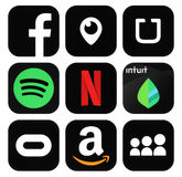 普遍的黑社会媒介,企业商标象的汇集 免版税库存照片