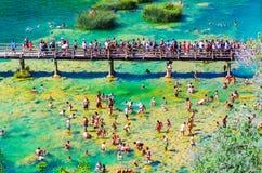 普遍的Krka国家公园在繁忙的暑假期间在克罗地亚25 08 2016年 免版税库存图片