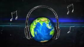 普遍音乐曲调黑板使成环的动画 股票视频
