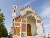 普里什蒂纳,科索沃- 2016年6月:保佑的真福加尔各答的德肋撒天主教大教堂  库存照片