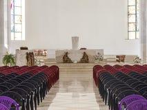普里什蒂纳,科索沃- 2016年6月:保佑的真福加尔各答的德肋撒天主教大教堂  免版税库存照片
