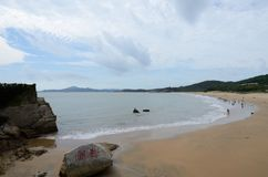 普陀山山QianBuSha海滩的角落 库存图片