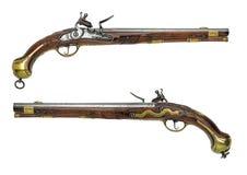 普鲁士人的古色古香的燧发枪手枪 图库摄影