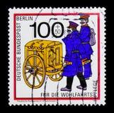 普鲁士人的邮政正式19世纪,福利:通过年龄serie邮寄运输,大约1989年 库存图片
