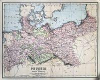 普鲁士的古色古香的地图 免版税库存照片
