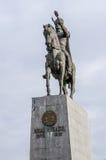 普洛耶什蒂12月04日2015年罗马尼亚,勇敢者米哈伊雕象  库存图片