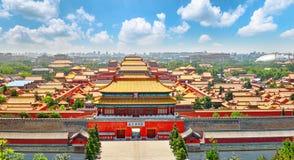 景山公园,上面全景在故宫,北京 免版税库存图片