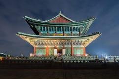 景福宫宫殿在晚上在汉城,韩国 免版税图库摄影