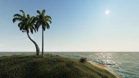 晴天在小热带海岛 向量例证